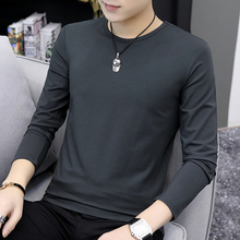 Modal long sleeve t-shirt men's fashion round neck autumn top solid color autumn winter plus Plush bottom top with autumn clothes inside