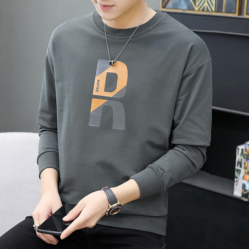 2021 new autumn sweater male ins loose trend wild autumn and winter plus velvet gray round neck long-sleeved t-shirt