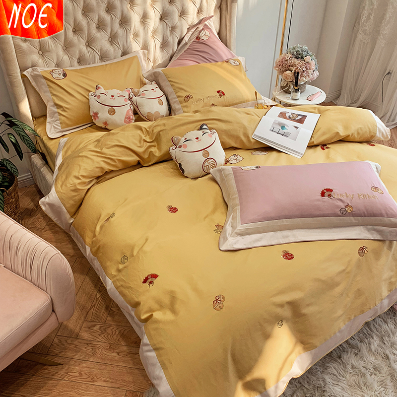 Zhaocai cat four piece cartoon style yellow pure cotton bed sheet lovely embroidered cotton quilt cover girl bedding
