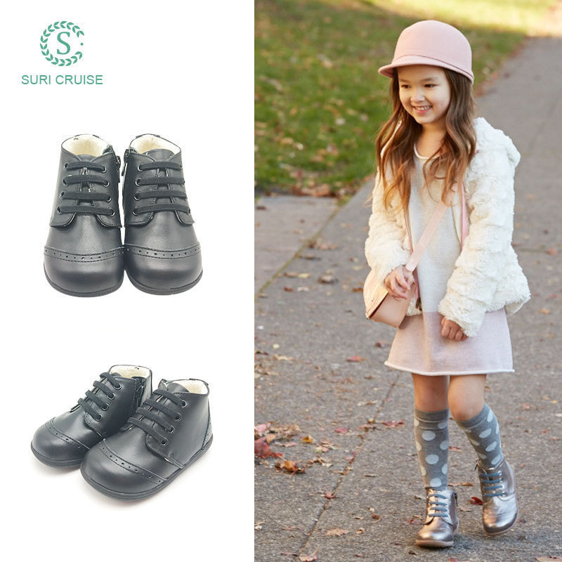 Childrens leather shoes, womens winter Plush boots, leather leisure girls cotton boots, soft soles, thickened warmth, British boys