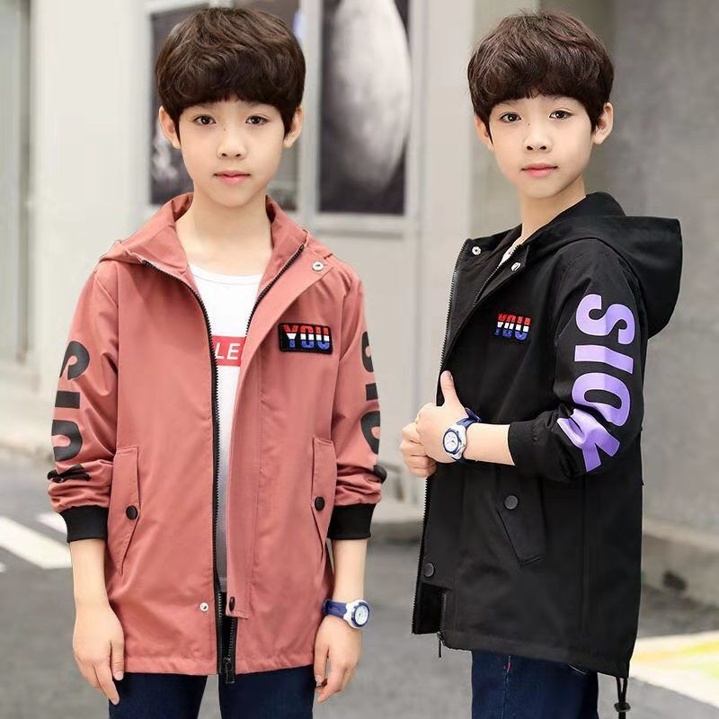 Boys Autumn childrens coat spring and autumn foreign style medium length top middle school boys 2020 new style windbreaker trend