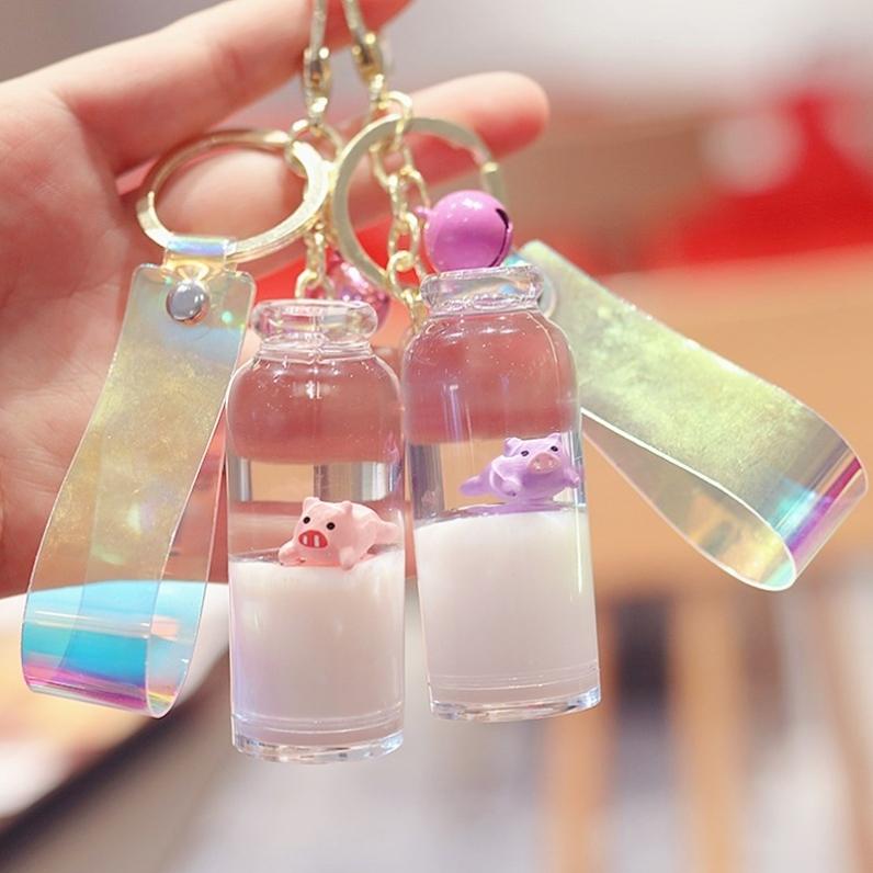 潮流钥匙扣挂件情侣牛奶瓶液体装饰挂件漂浮高级个性简约少女车用