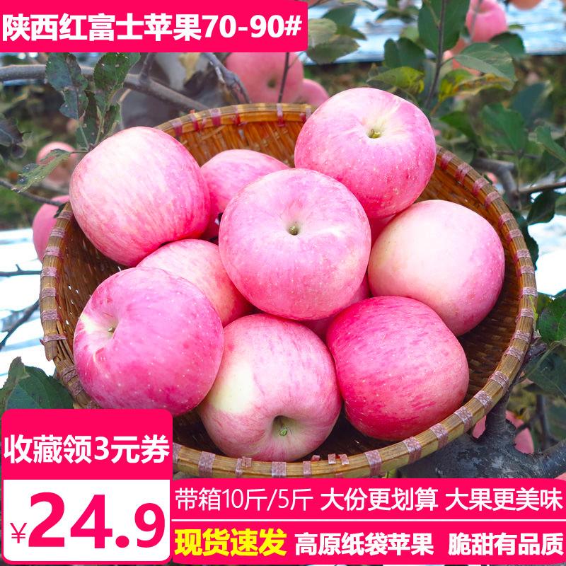 陕西苹果水果新鲜5斤整箱批发包邮高原纸袋红富士平萍苹果吃的
