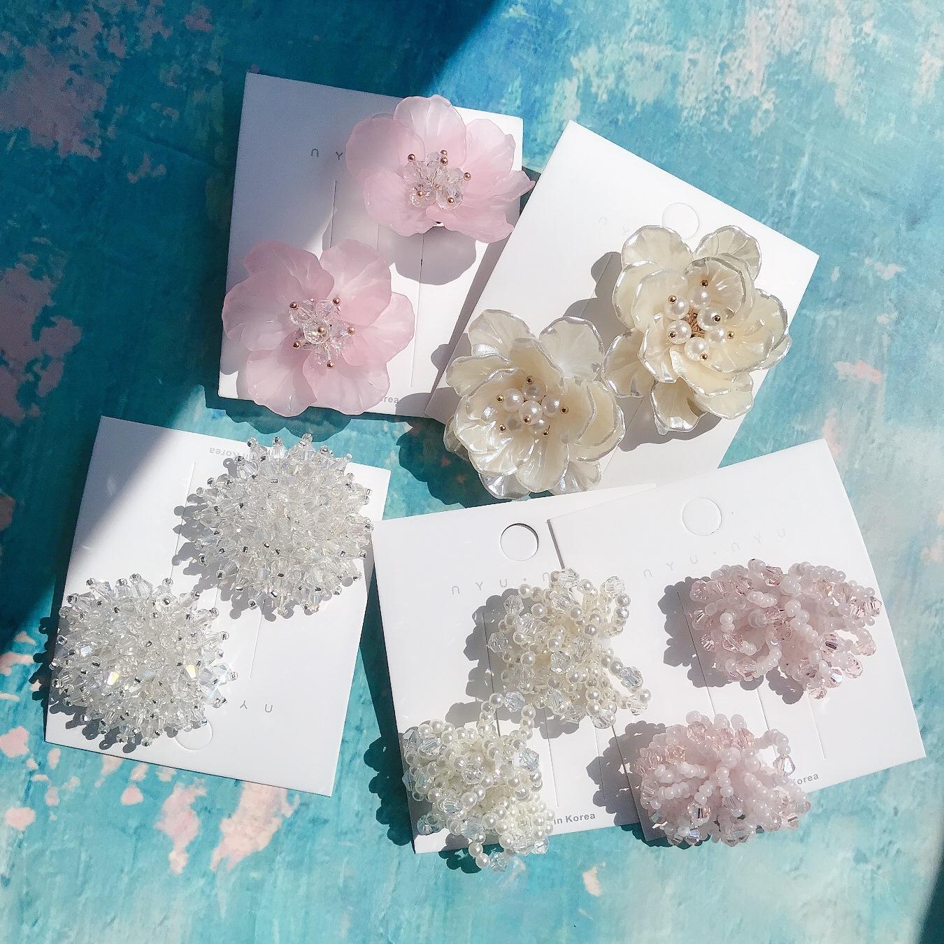 Korean fashion ear clip shiny crystal earrings summer fairy flower earrings hand made pearl beads earrings sweet