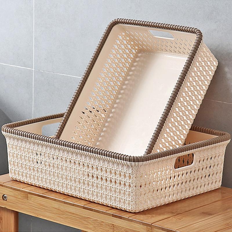 仿藤编桌面收纳篮家用浴室杂物置物篮塑料厨房收纳筐零食小篮子
