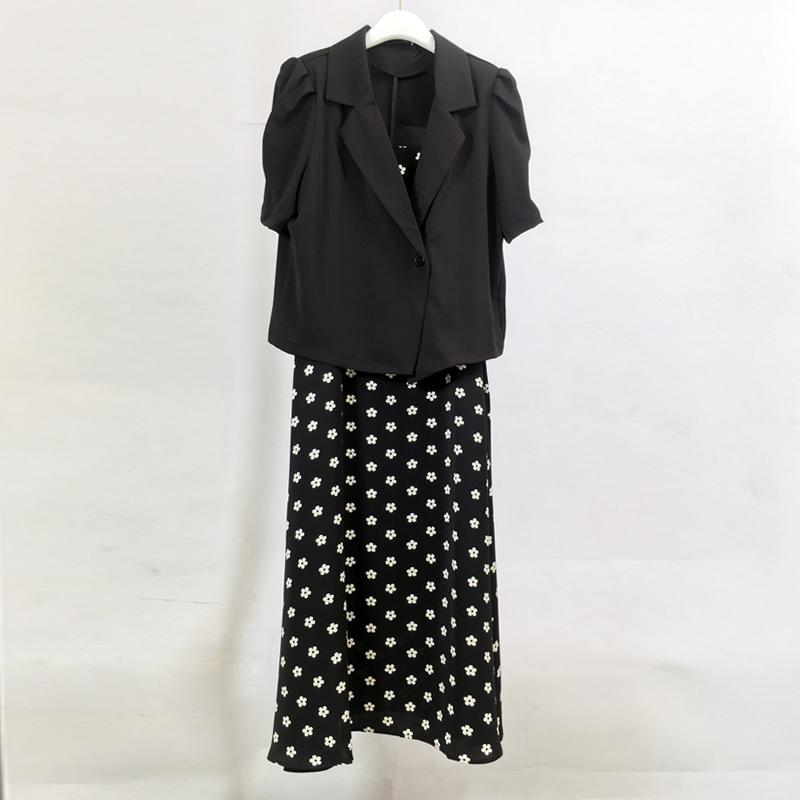 2021 summer new floral sling short sleeve suit coat slim dress suit hmz862