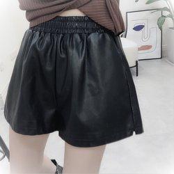 互动地带88A07皮短裤女2020宽松新款阔腿显瘦高腰秋冬皮裤外穿潮