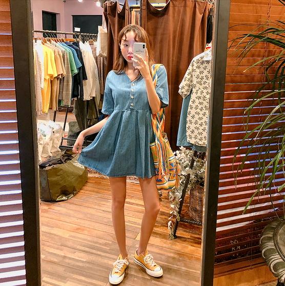 韩国代购kongstyle正品直发V领单排扣休闲可爱纯棉短袖连衣裙
