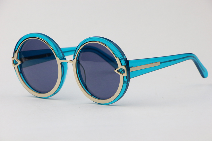Tong Liya star same Sunglasses Womens fashion versatile round big frame transparent blue glasses sunshade Sunglasses