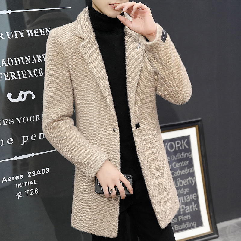 2019 mens windbreaker mid long autumn and winter new Korean fashion British woolen coat with thick woolen coat