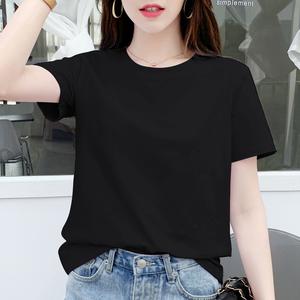 夏季纯棉t恤黑色宽松韩版潮打底衫