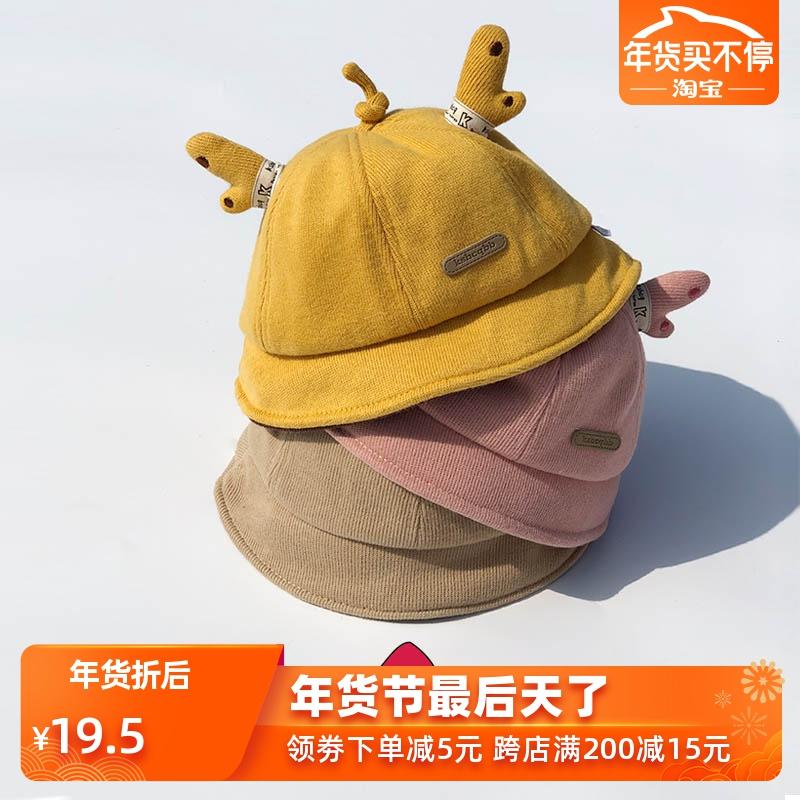 网红婴儿帽子春秋冬纯棉渔夫帽女冬季男童可爱盆帽宝宝帽子0-1岁