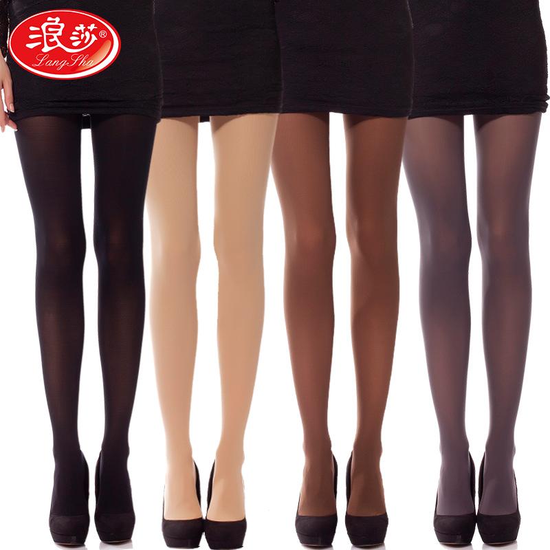 4双浪莎丝袜女春秋薄款中厚连裤袜防勾黑肉色连体连脚女士打底袜