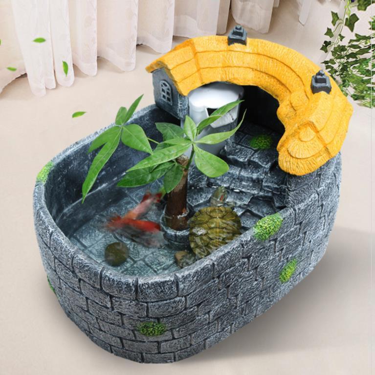 水陆和饲养排水孔龟合一龟鱼混养缸中型生态鱼养龟新品长方形别墅