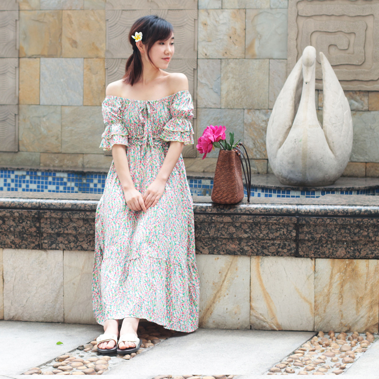 Clearance summer princess sleeve one-piece dress with one-piece collar