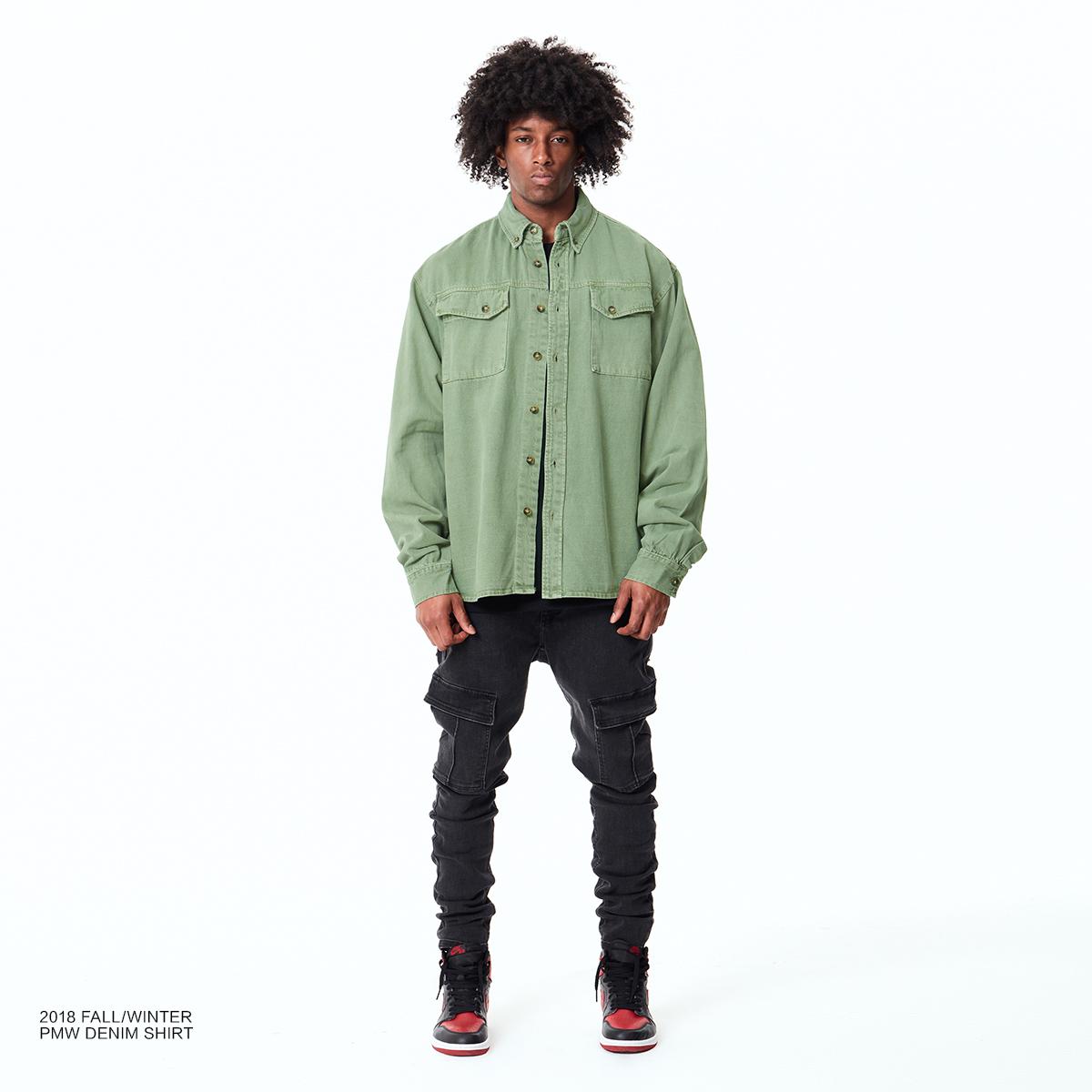 PMW 2018FW OVERSIZE SHIRT 复古水洗做旧宽松灰绿色牛仔衬衫