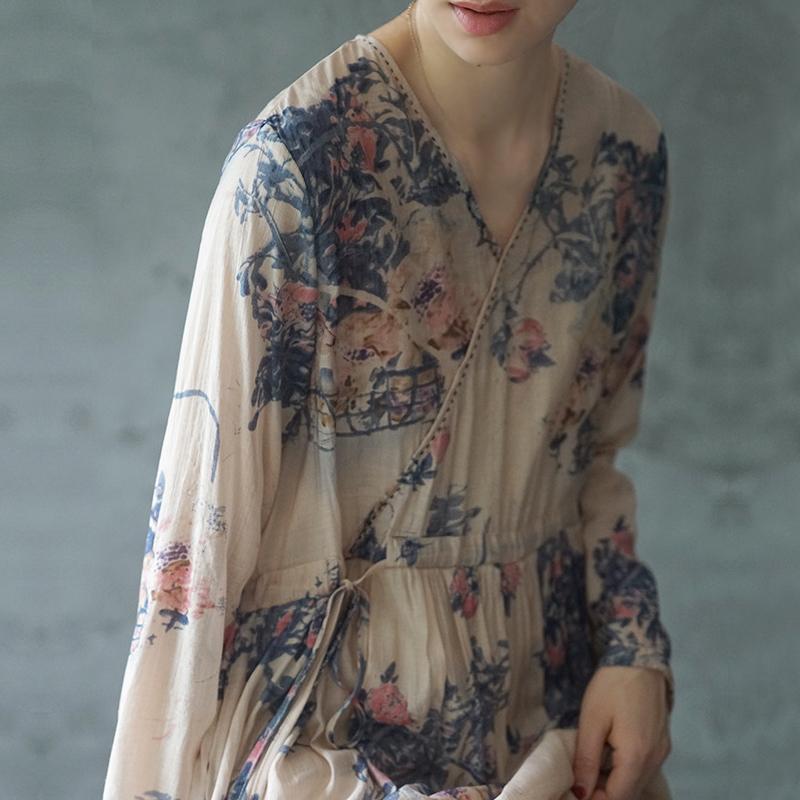 棉麻艺术风连衣裙夏薄款显瘦减龄洋气汉服改良版丝棉长袖子连衣裙图片