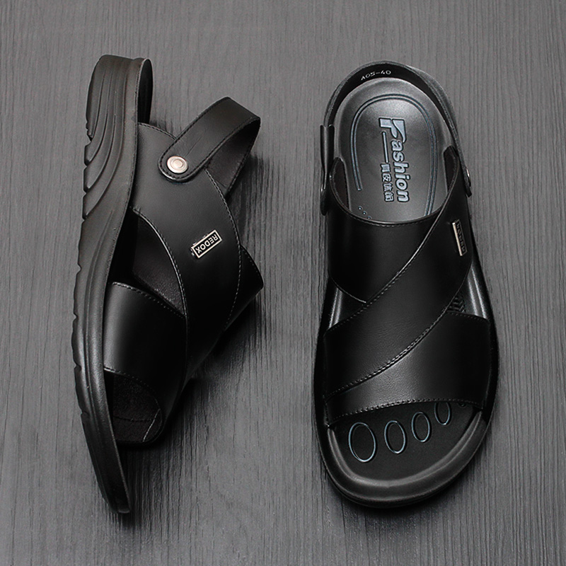Leather Mens sandals summer sandals mens casual leather sandals middle aged and elderly beach shoes top layer leather slippers large