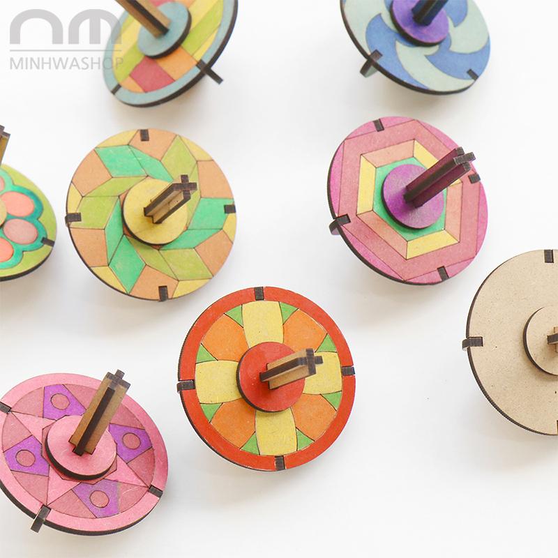 原创设计白胚木质儿童陀螺手转diy幼儿园美术材料手绘画彩绘玩具