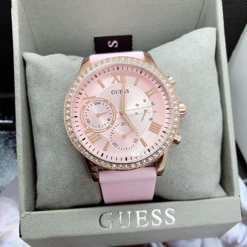 美国代购 正品盖斯Guess W1135L2 粉色镶钻橡胶表带夜光女手表