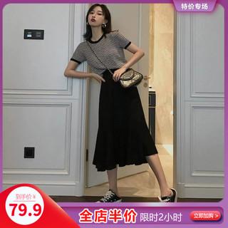 夏季2020年新款潮显瘦减龄时髦洋气两件套装连衣裙子胖mm大码女装