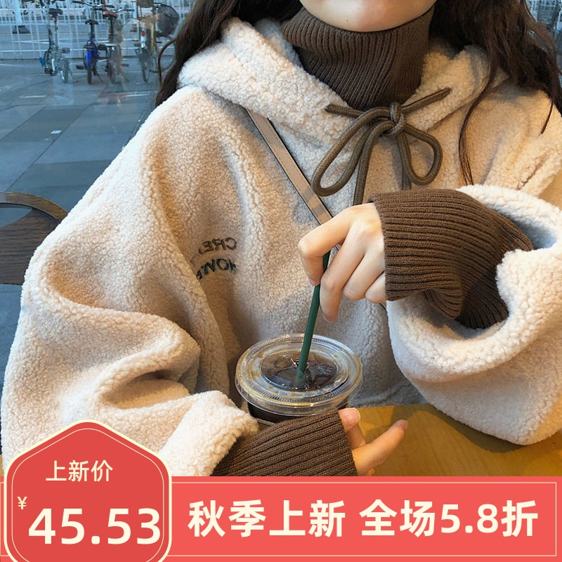 Wool fake two-piece hooded sweater for women in autumn and winter loose thickened high neck imitation cashmere jacket jacket / sweater