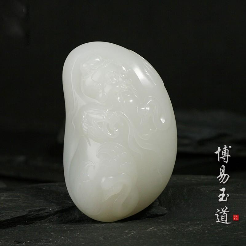 博易玉道和田玉白玉籽料挂件羲之爱鹅苏州玉雕大师创作新品