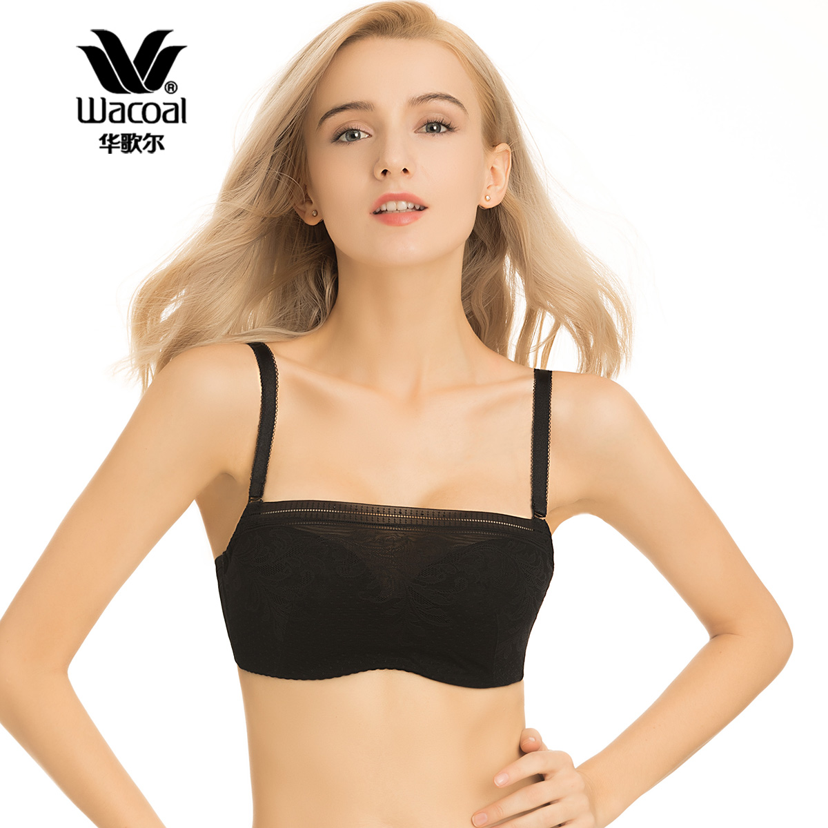 华歌尔Wacoal薄款无痕蕾丝防走光女士内衣抹胸裹胸文胸WB3037