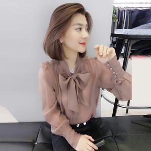 欧洲站春秋装女2020新款欧货春季蝴蝶结显瘦气质小衫洋气长袖衬衫