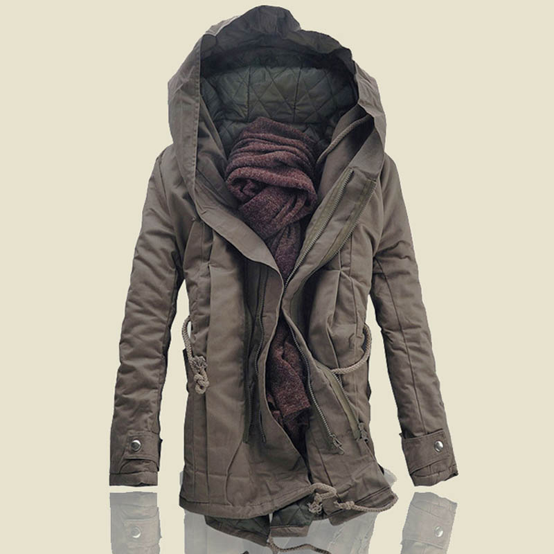 European and American fashion in winter plus large size medium length cotton padded jacket with loose drawstring big hat tooling swallow tail cotton padded jacket for men