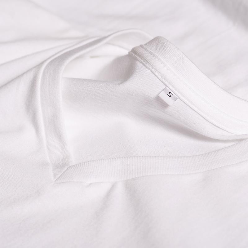 纯棉纯色白色T恤女V领宽松短袖纯黑上衣女夏纯白t桖美式打底古着