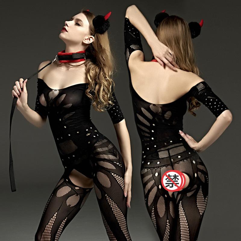 成人情趣内衣极度诱惑连体紧身开裆网衣免脱连身网袜夜店套装骚