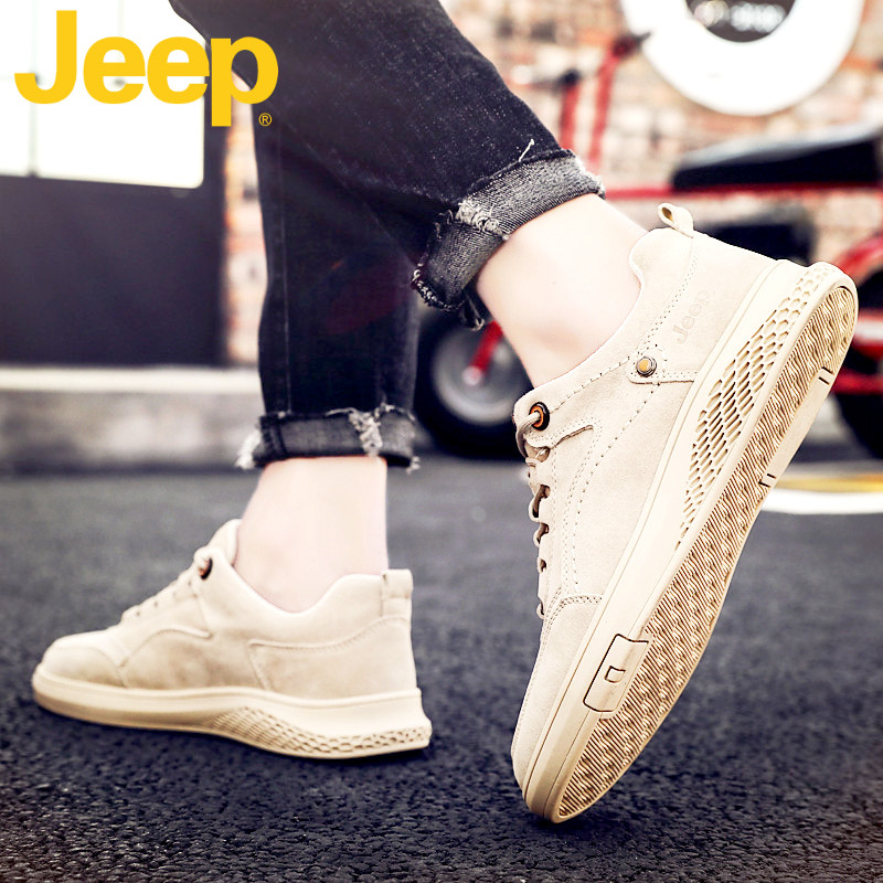 JEEP jeep shoes men's shoes 2020 new winter leather peas shoes men's all-match casual Korean trendy shoes