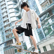 沐汉风狼烟中国风男装刺绣短袖夏季复古唐装日常汉元素改良汉服男