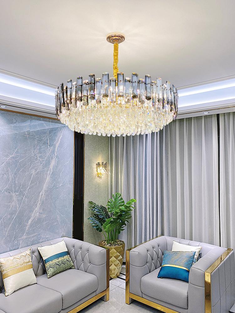 年美式新款灯具2021后现代客厅轻奢水晶吊灯简约奢华大气餐厅卧室