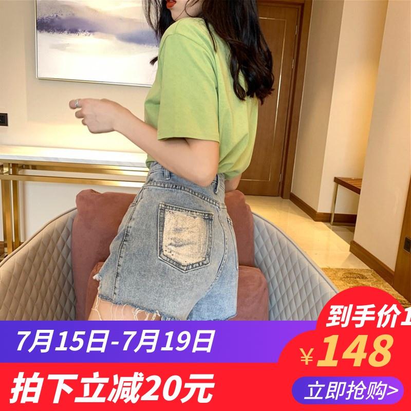 遮肚子时髦韩版洋气欧货潮休闲牛仔裤子上衣2019洋气夏两件套套装