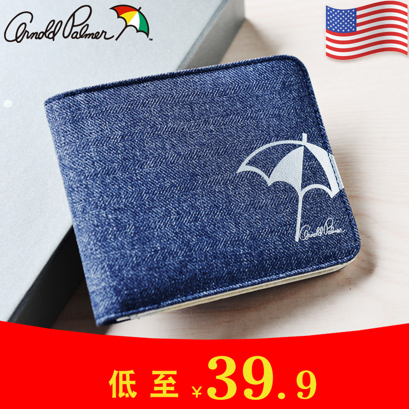 Arnold Palmer wallet mens short personalized fashion youth Oxford cloth mens wallet thin Money Wallet
