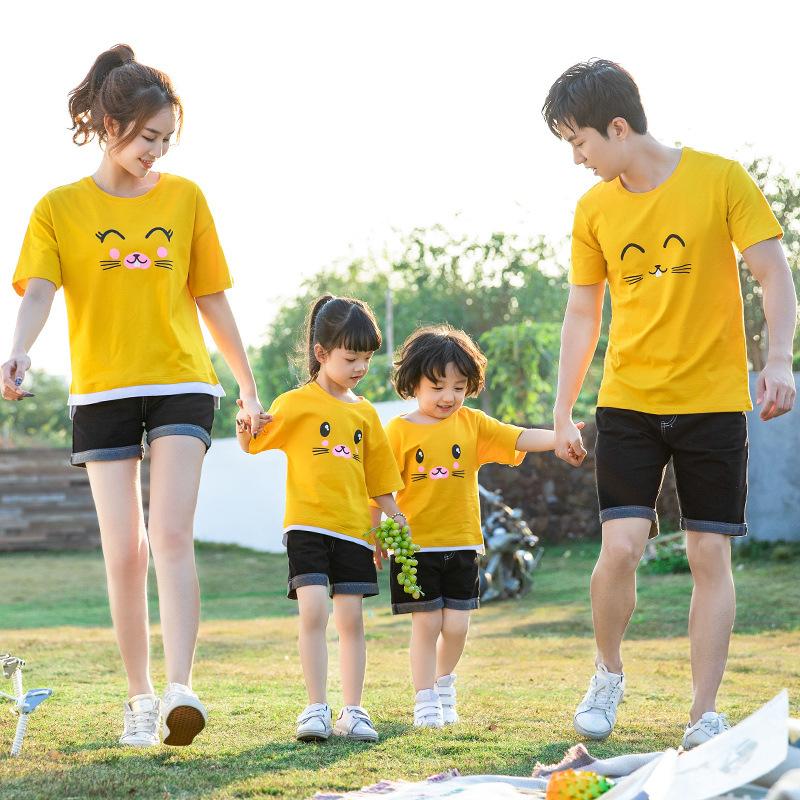 亲子装夏装2020新款潮一家三口母子母女洋气短裤夏款纯棉宽松T恤