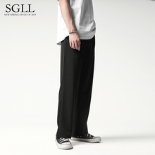 Men's wide legged trousers, straight bobbin trousers, loose pants, Korean trend, casual pants, work clothes, sagging suit pants