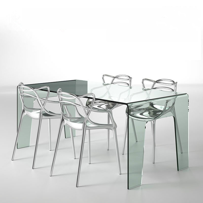Modern fashion transparent dining chair with arm crystal chair Hotel Club restaurant simple ACRYLIC CHAIR package