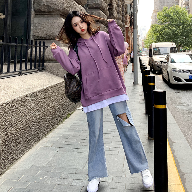2020年紫色卫衣女新款2020假两件春秋薄款宽松韩版上衣中长款外套图片