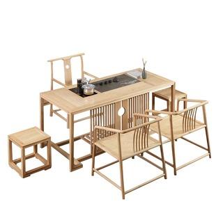 新中式白蠟木茶桌椅組合免漆全實木茶台茶藝客廳泡茶桌禪意茶室