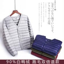 秋冬季轻薄款羽绒服男圆领大码羽绒内胆男装内穿无领外套90白鸭绒