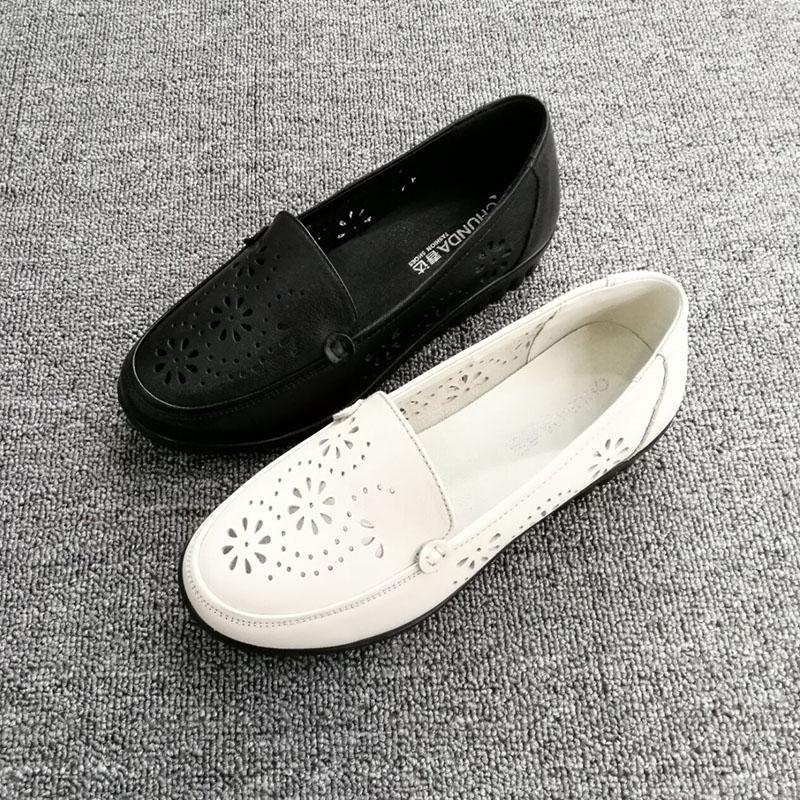 168.00元包邮春达中老年人妈妈凉鞋女夏季新款真皮软底舒适镂空洞洞鞋平底防滑