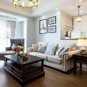 雅然居美式复古布艺l型小户型沙发