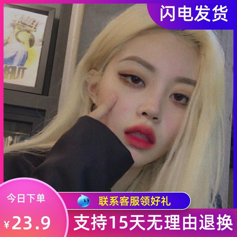 韩版假发女长发气质修脸中分刘海长直发原宿化妆街拍金色假毛头套图片