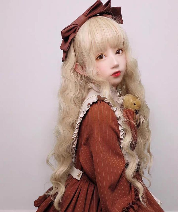 假发女长发空气刘海网红cos 长卷发羊毛卷浅金色Lolita自然全头套图片