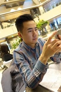 BF原创春秋季长袖衬衫男士蓝格子复古休闲修身轻做旧纯棉衬衣日常
