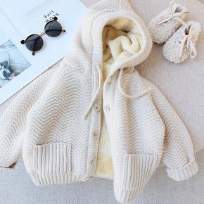 2021新款秋冬装 女童加厚连帽羊羔绒加绒毛衣外套 女宝宝婴儿开衫