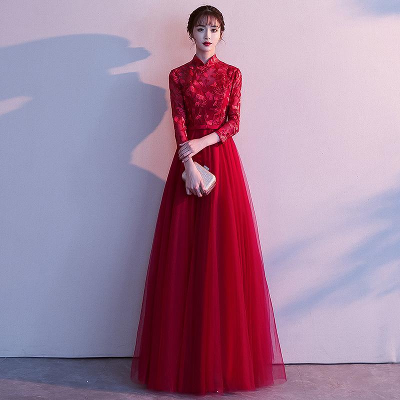 敬酒服新娘2021新款冬季时尚长袖中式红色显瘦长款结婚礼服裙仙女